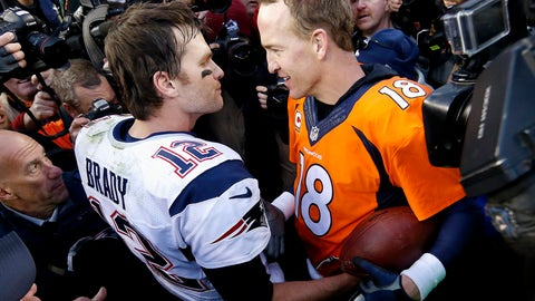 "<p>               FILE - In this Jan. 24, 2016, file photo, New England Patriots quarterback Tom Brady, left, and Denver Broncos quarterback Peyton Manning speak to one another following the NFL football AFC championship game in Denver.  The next match involving Tiger Woods and Phil Mickelson involves a $10 million donation for COVID-19 relief efforts, along with plenty of bragging rights in a star-powered foursome May 24 at Medalist Golf Club. Turner Sports announced more details Thursday, May 7, 2020, for ""The Match: Champions for Charity,"" a televised match between Woods and Peyton Manning against Mickelson and Tom Brady. (AP Photo/David Zalubowski, File)             </p>"