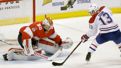 <p>               Montreal Canadiens center Max Domi (13) attempts a shot at Florida Panthers goaltender Chris Driedger (60) during the second period of an NHL hockey game, Saturday, March 7, 2020, in Sunrise, Fla. (AP Photo/Wilfredo Lee)             </p>