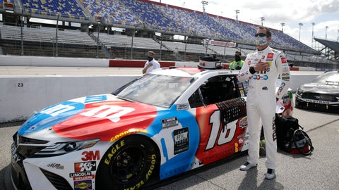 <p>               Kyle Busch stands for the playing of the national anthem before the start of the NASCAR Cup Series auto race Sunday, May 17, 2020, in Darlington, S.C. (AP Photo/Brynn Anderson)             </p>