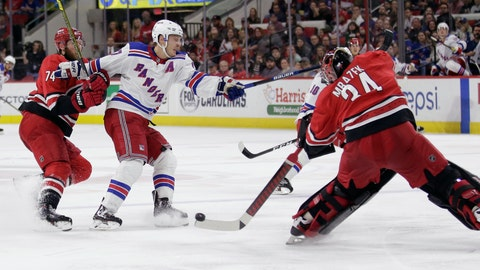 <p>               FILE - In this Nov. 7, 2019, file photo, Carolina Hurricanes goaltender Petr Mrazek (34), of the Czech Republic, blocks New York Rangers right wing Jesper Fast, of Sweden, with Hurricanes defenseman Jaccob Slavin (74) slowing Fast during the third period of an NHL hockey game in Raleigh, N.C. Carolina was one of two teams (along with Tampa Bay) that voted against the current playoff format, which doesn't reward it for being in a playoff spot when the season was paused. But the Hurricanes shouldn't need emergency goaltender David Ayres anymore with Mrazek and James Reimer healthy in net. (AP Photo/Gerry Broome, File)             </p>