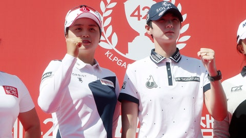 <p>               South Korean golfer Park Sung-hyun, right, and Choi Hye-jin, left, pose for photographers during a media day for the 42nd KLPGA Championship at the Lakewood Country Club in Yangju, South Korea, Wednesday, May 13, 2020. The South Korean women's golf tour starts up again with the KLPGA Championship opening on Thursday, an event that will be played without fans on the course. (Im Byung-shik/Yonhap via AP)             </p>