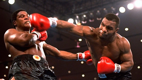 <p>               FILE - In this Nov. 22, 1986, file photo, Mike Tyson, right, delivers a blow to Trevor Berbick during a boxing bout in Las Vegas. Tyson hasn't announced any plans to return to the ring, though he did suggest on an Instagram post he might make himself available for 3 or 4-round exhibitions if the price was right. And already some people in Australia are talking about offering him $1 million to fight an exhibition against a rugby star or two. (AP Photo/Douglas C. Pizac, File)             </p>