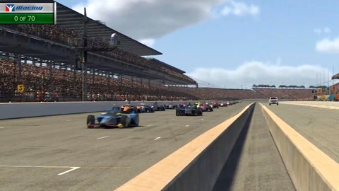 <p>               In this image taken from video provided by iRacing IndyCar, driver Scott McLaughlin, left, leads the field at the green flag during the First Responder 175 presented by GMR virtual IndyCar auto race at the Indianapolis Motor Speedway, Saturday, May 2, 2020, in Indianapolis, Ind. (iRacing IndyCar via AP)             </p>