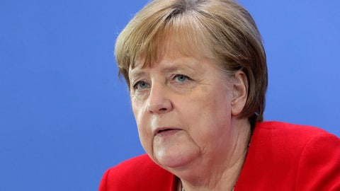 <p>               German Chancellor Angela Merkel attends a press conference in Berlin, Germany, Wednesday, May 6, 2020 after an online meeting of Merkel and the German state governors on the loosening of the restictions to reduce the spread of the new coronavirus. (AP Photo/Michael Sohn, pool)             </p>