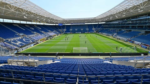 <p>               Players of Hoffenheim and Hertha warm-up in the empty stadium prior to the Bundesliga soccer match between TSG 1899 Hoffenheim and Hertha BSC Berlin in Sinsheim, Germany, Saturday, May 16, 2020. The German Bundesliga becomes the world's first major soccer league to resume after a two-month suspension because of the coronavirus pandemic. (Thomas Kienzle/AFP pool via AP)             </p>