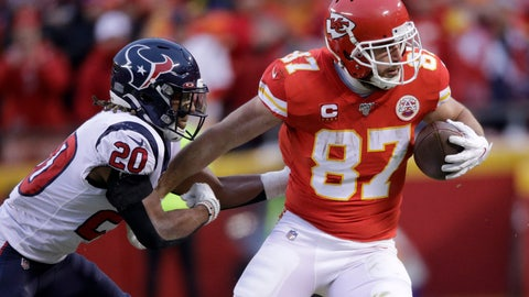 <p>               FILE - In this Jan. 12, 2020, file photo, Kansas City Chiefs tight end Travis Kelce (87) is tackled by Houston Texans safety Justin Reid during the second half of an NFL divisional playoff football game in Kansas City, Mo. Kelce has two years remaining on a five-year, $46.8 million extension that he signed in 2016. (AP Photo/Charlie Riedel, File)             </p>