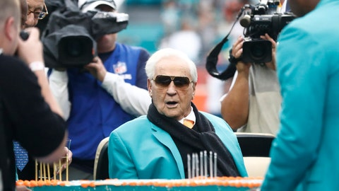 <p>               FILE - In this Dec. 22, 2019, file photo, former Miami Dolphins head coach Don Shula looks at a large cake celebrating the 1972 undefeated season and his birthday during half time at an NFL football game against the Cincinnati Bengals in Miami Gardens, Fla.  Shula, who won the most games of any NFL coach and led the Miami Dolphins to the only perfect season in league history, died Monday, May 4, 2020, at his South Florida home, the team said. He was 90. (AP Photo/Brynn Anderson, File)             </p>