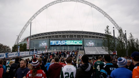 <p>               FILE - In this Oct. 26, 2014, file photo, sans arrive at Wembley Stadium before an NFL football game between the Atlanta Falcons and the Detroit Lions in London. The NFL is moving its five games scheduled for London and Mexico City this season back to U.S. stadiums because of the coronavirus pandemic. All five regular-season games will now be played at the stadiums of the host teams.  (AP Photo/Matt Dunham, File)             </p>