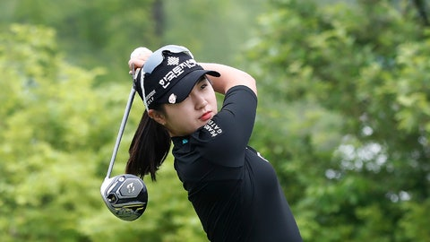 <p>               Park Hyun-kyung of South Korea watches her tee shot on the first hole during the final round of the KLPGA Championship at the Lakewood Country Club in Yangju, South Korea, Sunday, May 17, 2020. (AP Photo/Ahn Young-joon)             </p>