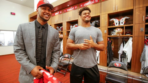 <p>               FILE - In this Friday, April 29, 2016, file photo, San Francisco 49ers NFL first round draft pick DeForest Buckner, left, a defensive lineman from Oregon, meets with former Oregon teammate Arik Armstead, right, during an NFL football news conference in Santa Clara, Calif. Armstead and Buckner have been teammates on the defensive line for seven of the past eight seasons whether in college at Oregon or in the NFL with the San Francisco 49ers. The 49ers signed Armstead to a five-year contract worth up to $85 million on Monday, March 16, 2020, and then immediately agreed to a deal to send Buckner to Indianapolis. (AP Photo/Tony Avelar, File)             </p>