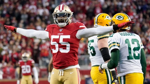 """<p>               FILE - In this Sunday, Jan. 19, 2020 file photo, San Francisco 49ers defensive end Dee Ford (55) gestures next to Green Bay Packers quarterback Aaron Rodgers (12) during the first half of the NFL NFC Championship football game in Santa Clara, Calif. San Francisco edge rusher Dee Ford had an """"extensive cleanup"""" operation for tendinitis in his left knee that limited his effectiveness in his first season with the 49ers. Ford said Friday, May 29, 2020 that Dr. James Andrews performed the operation a few weeks after San Francisco lost the Super Bowl. (AP Photo/Tony Avelar, File)             </p>"""