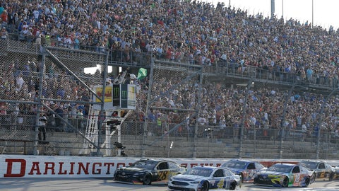 <p>               FILE - In this Sept. 3, 2017, file photo, Kevin Harvick (4) leads the field past the green flag at the start of a NASCAR Monster Cup auto race at Darlington Raceway in Darlington, S.C. Faced with many of its teams falling into financial ruin or going racing, NASCAR is throwing the green flag on a plan it believes allows the series to safely resume the season. (AP Photo/Terry Renna, File)             </p>