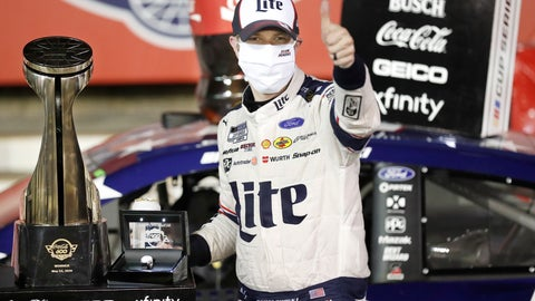 <p>               Brad Keselowski celebrates after winning the NASCAR Cup Series auto race at Charlotte Motor Speedway early Monday, May 25, 2020, in Concord, N.C. (AP Photo/Gerry Broome)             </p>