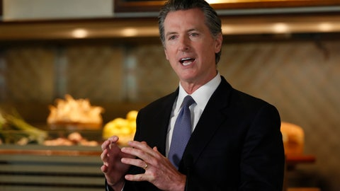 <p>               Gov. Gavin Newsom announces new criteria related to coronavirus hospitalizations and testing that could allow counties to open faster than the state, during a news conference at Mustards Grill in Napa, Calif., Monday May 18, 2020. Newsom says the new criteria could apply to 53 of the state's 58 counties. (AP Photo/Rich Pedroncelli, Pool)             </p>