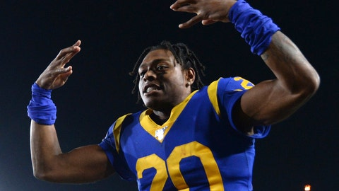 <p>               FILE - In this Nov. 17, 2019, file photo, Los Angeles Rams cornerback Jalen Ramsey celebrates the team's win over the Chicago Bears in an NFL football game in Los Angeles. Ramsey says he won't hold out as he heads into the final year of his rookie contract and his first full season with the Rams. After a tumultuous tenure in Jacksonville, the star cornerback sounds content in Los Angeles and eager to play new roles on defense. (AP Photo/Kyusung Gong, File)             </p>