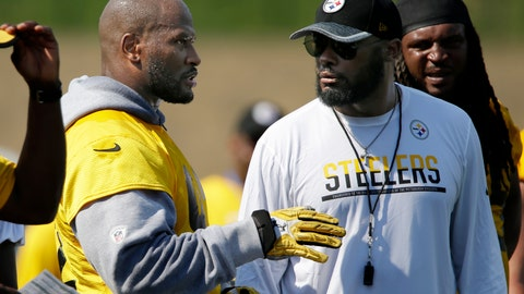 <p>               FILE - In this July 29, 2016, file photo, Pittsburgh Steelers linebacker James Harrison, left, talks with head coach Mike Tomlin during a practice at the NFL football team's training camp in Latrobe, Pa. Former NFL linebacker James Harrison says Pittsburgh Steelers head coach Mike Tomlin did not offer a bounty for an illegal hit on a member of the Cleveland Browns. Harrison told former teammate Willie Colon on a podcast that Tomlin handed him an envelope shortly after Harrison was fined in 2010 for a helmet-to-helmet hit on Browns wide receiver Mohamed Massqoui. Harrison declined to specify what was in the envelope, but posted on Instagram that Tomlin never offered a bounty on opposing players. (AP Photo/Gene J. Puskar, File)             </p>