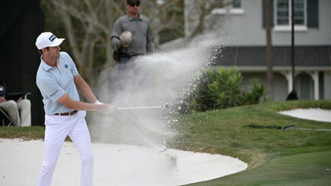 <p>               FILE - In this March 8, 2020, file photo, Harris English hits out of a bunker onto the 14th green during the final round of the Arnold Palmer Invitational golf tournament in Orlando, Fla. Before the PGA Tour season was halted by the coronavirus, English worked his way up to No. 24 in the FedEx Cup. (AP Photo/Phelan M. Ebenhack, File)             </p>