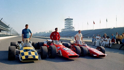 <p>               FILE - In this May 24, 1969, file photo, from left to right: Al Unser, Mario Andretti, and A.J. Foyt, the front row in the upcoming Indianapolis 500 auto race, pose for photos in Indianapolis. Andretti and Unser's rivalry is one of the most famous in the long history of the Indianapolis 500. (AP Photo, File)             </p>