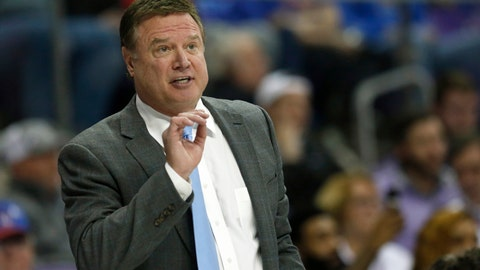 """<p>               FILE - In this Feb. 8, 2020, file photo, Kansas head coach Bill Self reacts to a play as Kansas plays TCU during the second half of an NCAA college basketball game in Fort Worth, Texas. The NCAA struck back at the University of Kansas and its men's basketball program Thursday, May 7, 2020 calling five Level I violations that are alleged to have occurred """"egregious"""" and arguing that they undermine and threaten"""" college athletics. (AP Photo/Ron Jenkins, file)             </p>"""