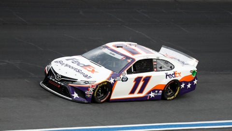 <p>               Denny Hamlin drives during the NASCAR Cup Series auto race at Charlotte Motor Speedway Sunday, May 24, 2020, in Concord, N.C. (AP Photo/Gerry Broome)             </p>