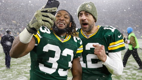 <p>               Green Bay Packers' Aaron Jones and Aaron Rodgers take a selfie after an NFL football game against the Carolina Panthers Sunday, Nov. 10, 2019, in Green Bay, Wis. The Packers won 24-16. (AP Photo/Mike Roemer)             </p>