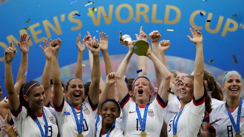 <p>               FILE - In this July 7, 2019, file photo,  United States' Megan Rapinoe lifts up a trophy after winning the Women's World Cup final soccer match between US and The Netherlands at the Stade de Lyon in Decines, outside Lyon, France. The  global players' association released its report on the state of  women's soccer, after warning that the coronavirus  outbreak could have a disastrous impact following the gains of last summer's Women's World Cup.  (AP Photo/Alessandra Tarantino, File)             </p>