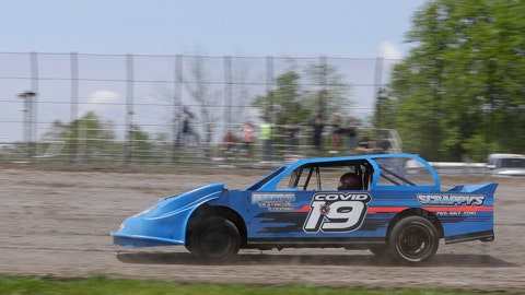 Gabe Wilkins drives his car during a practice session at Gas City I-69 Speedway, Sunday, May 24, 2020, in Gas City, Ind. (AP Photo/Darron Cummings)