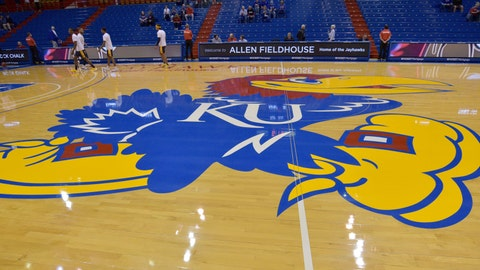 Nov 19, 2019; Lawrence, KS, USA; A general view of the Kansas Jayhawks center court logo before the game against the East Tennessee State Buccaneers at Allen Fieldhouse. Mandatory Credit: Denny Medley-USA TODAY Sports