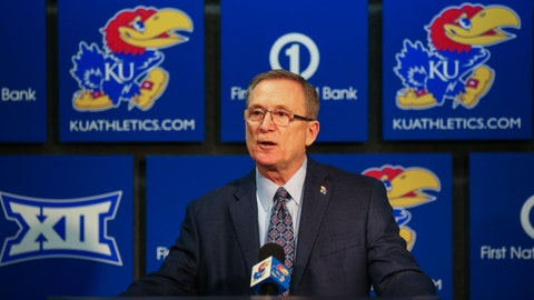 Feb 2, 2019; Lawrence, KS, USA; University of Kansas athletic director Jeff Long issues a statement concerning forward Silvio De Sousa (not pictured) before the game against the Texas Tech Red Raiders at Allen Fieldhouse. Mandatory Credit: Jay Biggerstaff-USA TODAY Sports