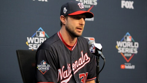 Oct 21, 2019; Houston, TX, USA; Washington Nationals starting pitcher Max Scherzer (31) speaks to the media prior to working out one day before the 2019 World Series at Minute Maid Park. Mandatory Credit: Erik Williams-USA TODAY Sports