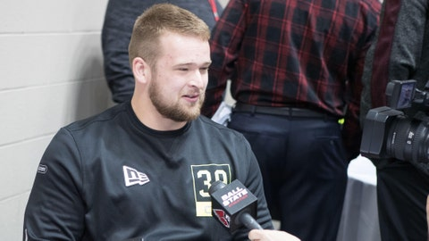 Feb 26, 2020; Indianapolis, Indiana, USA; Ball State offensive lineman Danny Pinter (OL39) speaks to the media during the 2020 NFL Combine in the Indianapolis Convention Center. Mandatory Credit: Trevor Ruszkowski-USA TODAY Sports