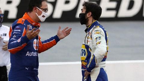 <p>               Drivers Joey Logano, left, and Chase Elliott talk following a NASCAR Cup Series auto race at Bristol Motor Speedway Sunday, May 31, 2020, in Bristol, Tenn. (AP Photo/Mark Humphrey)             </p>