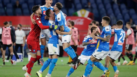 <p>               Napoli players celebrate after winning the Italian Cup soccer final match between Napoli and Juventus, at Rome's Olympic Stadium, Wednesday, June 17, 2020. (AP Photo/Andrew Medichini)             </p>