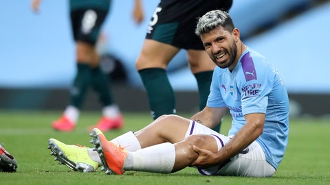 <p>               Manchester City's Sergio Aguero reacts as he sits on the pitch injured during the English Premier League soccer match between Manchester City and Burnley at Etihad Stadium, in Manchester, England, Monday, June 22, 2020. (AP Photo/Martin Rickett,Pool)             </p>