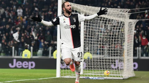 <p>               Juventus' Gonzalo Higuain celebrates after scoring during the Italian Cup soccer match between Juventus and Udinese, at the Allianz Stadium in Turin, Italy, Wednesday, Jan. 15, 2020. (Fabio Ferrari/LaPress via AP)             </p>