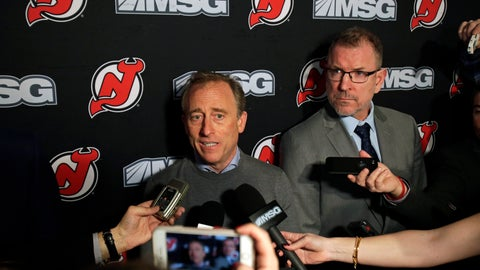 <p>               FILE - In this Jan. 12, 2020, file photo, New Jersey Devils owner Josh Harris, left, announces interim general manager Tom Fitzgerald, right, to replace Ray Shero prior to an NHL hockey game in Newark, N.J. The New Jersey Devils' season began with great expectations with return of an injured MVP, a trade for a Norris Trophy-winning defenseman and the addition of a second No. 1 overall draft pick in three years. It also ended with high hopes. In between was ugly. (AP Photo/Adam Hunger, File)             </p>