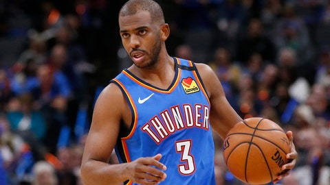 <p>               FILE - In this Friday, Feb. 7, 2020, file photo, Oklahoma City Thunder guard Chris Paul (3) is pictured during an NBA basketball game against the Detroit Pistons, in Oklahoma City. The coronavirus pandemic brought sports to a halt, but stay-at-home orders are starting to be eased and a handful of NBA teams are opening practice facilities. (AP Photo/Sue Ogrocki, File)             </p>