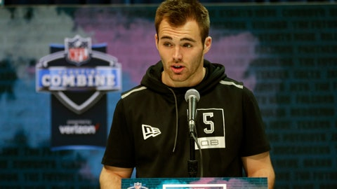 """<p>               FILE - In this Feb. 25, 2020, file photo, Georgia quarterback Jake Fromm speaks during a press conference at the NFL football scouting combine in Indianapolis. Buffalo Bills rookie quarterback Jake Fromm apologized for using the phrase """"elite white people"""" in a text conversation from more than a year ago, and posted on social media early Thursday morning, June 4, 2020. The former Georgia starter posted his apology on his Twitter account, in which he wrote: """"I'm truly sorry for my words and actions and humbly ask for forgiveness."""" (AP Photo/Michael Conroy, File)             </p>"""