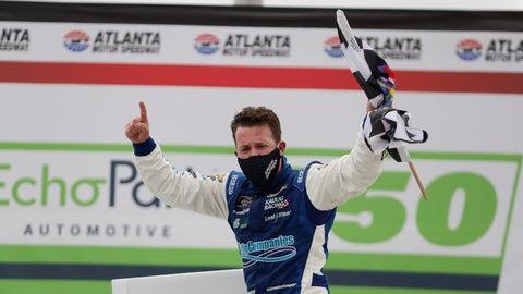 <p>               AJ Allmendinger celebrates after he won a NASCAR Xfinity Series auto race at Atlanta Motor Speedway, Saturday, June 6, 2020, in Hampton, Ga. (AP Photo/Brynn Anderson)             </p>