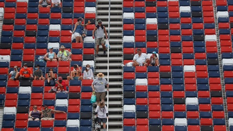 <p>               Fans dot the stands prior to a NASCAR Cup Series auto race at Talladega Superspeedway in Talladega Ala., Sunday, June 21, 2020. (AP Photo/John Bazemore)             </p>