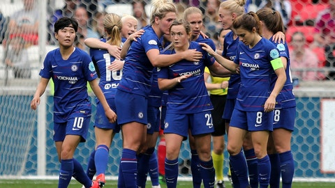<p>               FILE - In this file photo dated Sunday, April 21, 2019, Chelsea's Erin Cuthbert, centre, and teammates celebrate scoring against Lyon during their Women's Champions League soccer match in Decines, France. The English Football Association's board have decided to determine the final standings on a points-per-game basis, Friday June 5, 2020, naming Chelsea as Women's Super League champions after the season was stopped because of the coronavirus pandemic. (AP Photo/Laurent Cipriani, FILE)             </p>