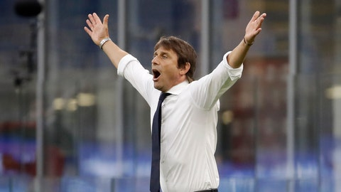 <p>               Inter Milan's head coach Antonio Conte gestures during the Serie A soccer match between Inter Milan and Sassuolo at the San Siro Stadium, in Milan, Italy, Wednesday, June 24, 2020. (AP Photo/Luca Bruno)             </p>