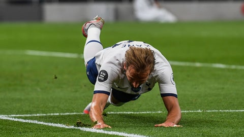 <p>               Tottenham's Harry Kane celebrates after scoring his team's second goal during the English Premier League soccer match between Tottenham Hotspur and West Ham at the Tottenham Hotspur stadium in London, England, Tuesday, June 23, 2020. (Neil Hall/Pool via AP)             </p>