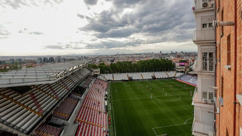<p>               Rayo Vallecano and Albacete soccer players play a second-division game in Madrid, Spain, Wednesday, June 10, 2020. With virtual crowds, daily matches and lots of testing for the coronavirus, soccer is coming back to Spain. The Spanish league resumes this week more than three months after it was suspended because of the pandemic, becoming the second top league to restart in Europe. The Bundesliga was first. The Premier League and the Italian league should be next in the coming weeks. (AP Photo/Manu Fernandez)             </p>