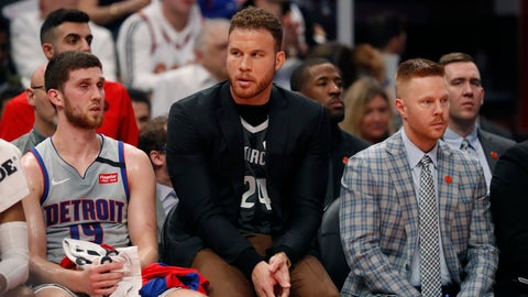 <p>               FILE - In this Jan. 27, 2020, file photo, Detroit Pistons forward Blake Griffin sits with guard Sviatoslav Mykhailiuk (19) and assistant coach Sean Sweeney during the first half of an NBA basketball game against the Cleveland Cavaliers in Detroit. With Andre Drummond traded and Blake Griffin's health again in question, the Detroit Pistons face an uncertain future. (AP Photo/Carlos Osorio, File)             </p>