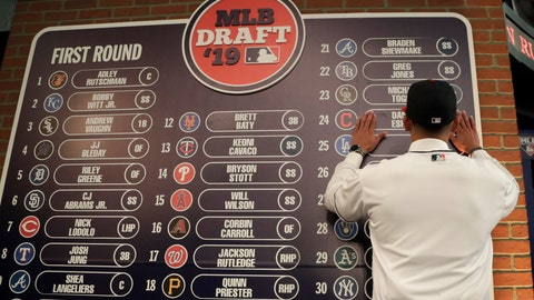 <p>               FILE - In this June 3, 2019, file photo, Daniel Espino, a right-handed pitcher from Georgia Premier Academy in Statesboro, Ga., places his name on the draft board after being selected No. 24 by the Cleveland Indians in the first round of the baseball draft in Secaucus, N.J. Baseball's amateur draft this week will look much different because of the coronavirus pandemic, and more permanent changes could be coming soon. (AP Photo/Julio Cortez, File)             </p>