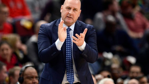 <p>               FILE - In this March 10, 2020, file photo, Chicago Bulls coach Jim Boylen cheers on players during the first half of the team's NBA basketball game against the Cleveland Cavaliers in Chicago. Boylen's future is the biggest issue hanging over the Bulls, who were left out when the NBA's Board of Governors approved a 22-team format to restart the pandemic-interrupted season next month in Orlando. (AP Photo/Paul Beaty, File)             </p>