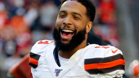 """<p>               FILE - In this Dec. 15, 2019, file photo, Cleveland Browns wide receiver Odell Beckham (13) laughs during an NFL football game against the Arizona Cardinals in Glendale, Ariz. Beckham, who skipped Cleveland's program last spring after being acquired from the Giants, has been a """"model guy"""" during the team's virtual program. (AP Photo/Rick Scuteri, File)             </p>"""