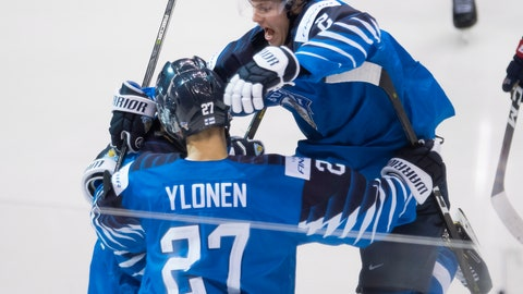 <p>               FILE - In this Jan. 5, 2019, file photo, Finland's Oskari Laaksonen jumps into the arms of Jesse Ylonen celebrating Ylonen's goal during the second period of the gold medal game at the world junior hockey tournament against the United States, in Vancouver, British Columbia. The Buffalo Sabres signed defenseman Oskari Laaksonen to a three-year entry-level contract on Monday, June 15, 2020. Laaksonen was Buffalo's third-round pick in the 2017 draft and spent the past two-plus seasons playing in Finland's Elite League. (Jonathan Hayward/The Canadian Press via AP, File)             </p>