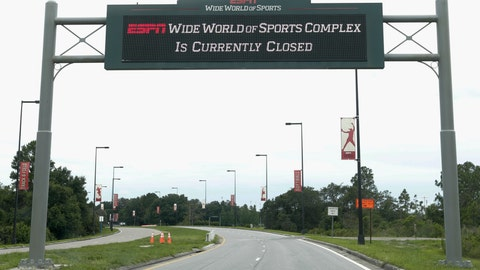 <p>               A sign at the entrance to ESPN's Wide World of Sports at Walt Disney World is seen Wednesday, June 3, 2020, in Kissimmee, Fla. The NBA has told the National Basketball Players Association that it will present a 22-team plan for restarting the season at Disney. (AP Photo/John Raoux)             </p>